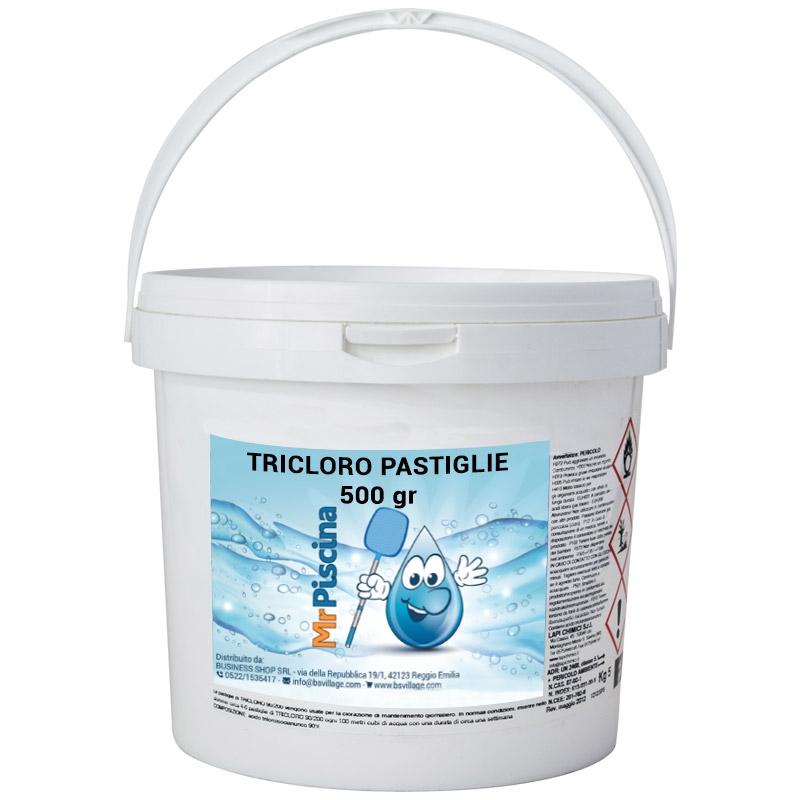 Tricloro 90 in pastiglie 500 gr per trattamento piscina for Cloro per piscine