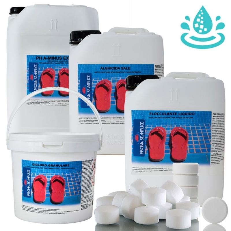 Kit mix per mantenimento acqua piscina con impianto elettrolisi al sale dai 110 ai 200 mc - Piscina a sale ...