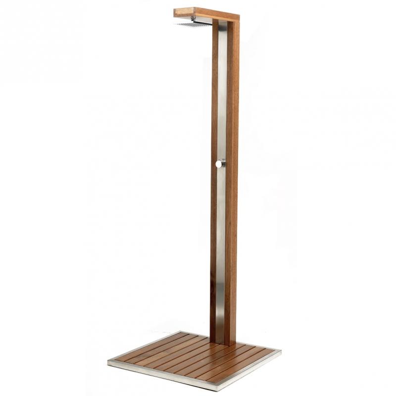 Doccia per piscina wood design con miscelatore for Piatto doccia 170x70 leroy merlin