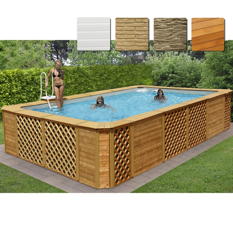 Piscina fuori terra rettangolare technypools premium 550 for Faretti per piscine fuori terra