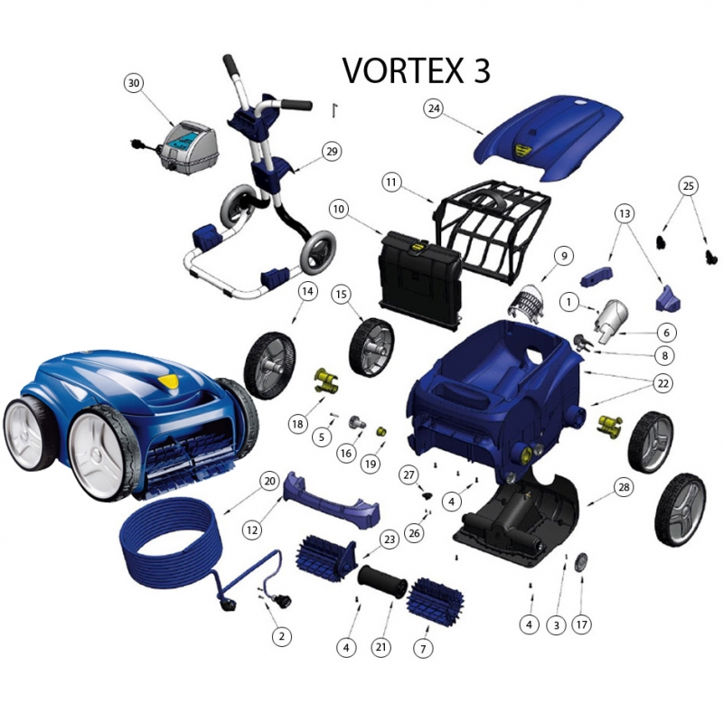 Zodiac vortex perfect robot performant zodiac vortex ov for Aspirateur piscine zodiac vortex 3 4wd