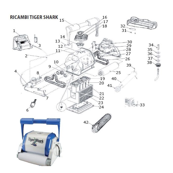 ricambi per robot aquavac hayward tiger shark. Black Bedroom Furniture Sets. Home Design Ideas