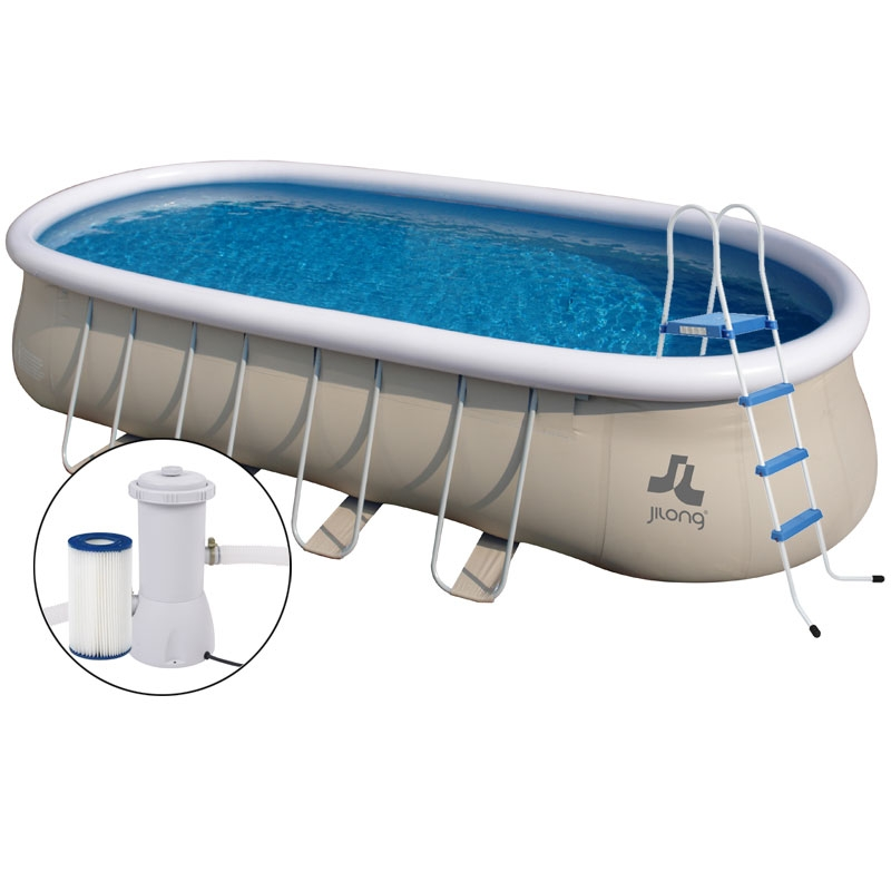 Piscina fuori terra ovale chinook grey jilong 732 x 360 x for Piscine jilong ovale