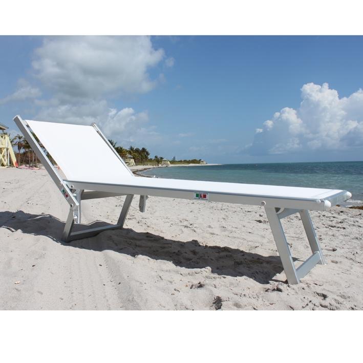 Lettino prendisole in alluminio kali a 3 posizioni senza tettuccio - Lettino piscina alluminio ...