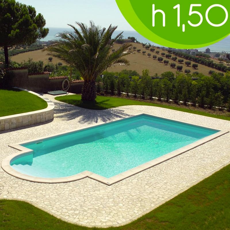 Piscina interrata kora in pannelli d 39 acciaio 9 80 x 4 00 h1 50 m con scala romana - Costo piscina interrata ...