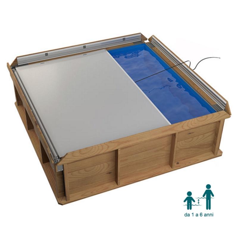 Piscina in legno naturalwood pistoche quadrata 226 x 226 x - Piscina fuori terra quadrata ...