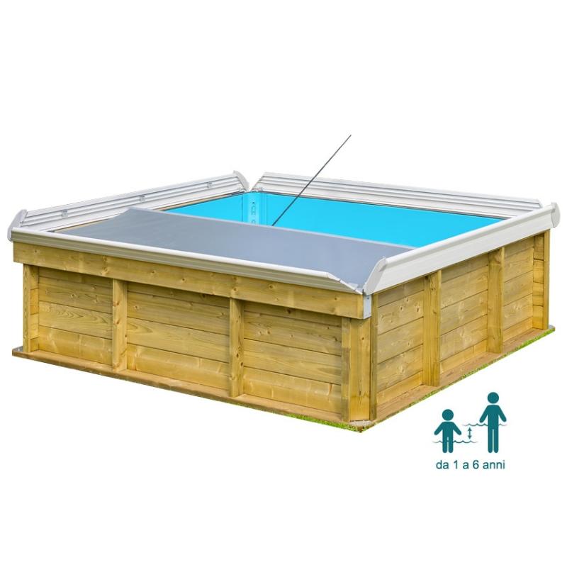 Piscina in legno naturalwood pistoche quadrata 226 x 226 x h0 63 cm - Piscina fuori terra quadrata ...