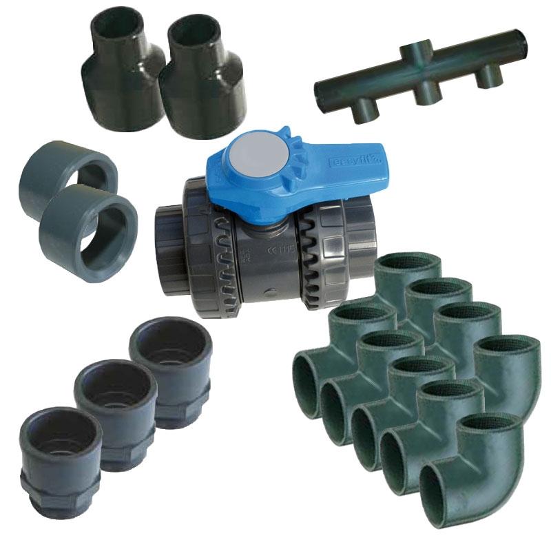 Kit raccordi e valvole per collegamento pompa filtro - Impianto filtrazione piscina prezzo ...