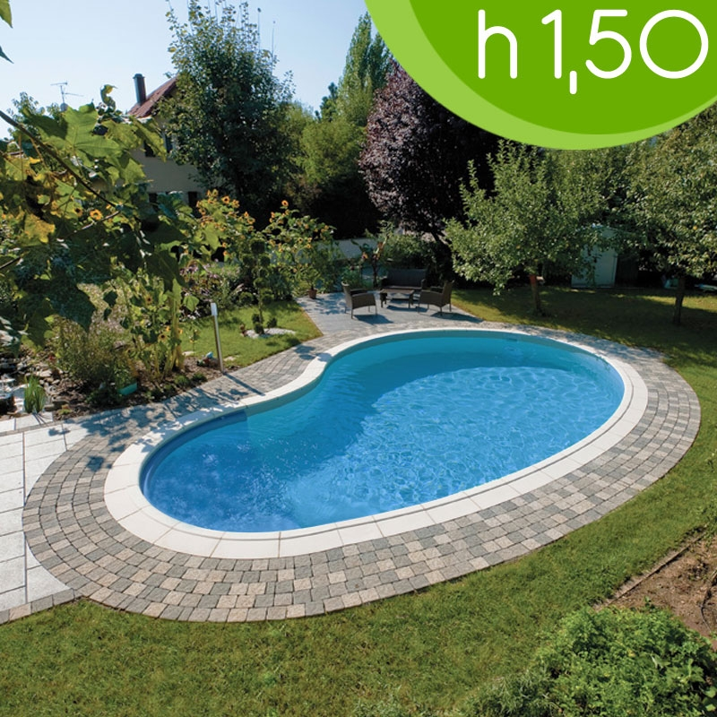 Piscina interrata in casseri smooth blok 8 00 x 4 20 h 1 50 m a fagiolo - Piscina interrata ...