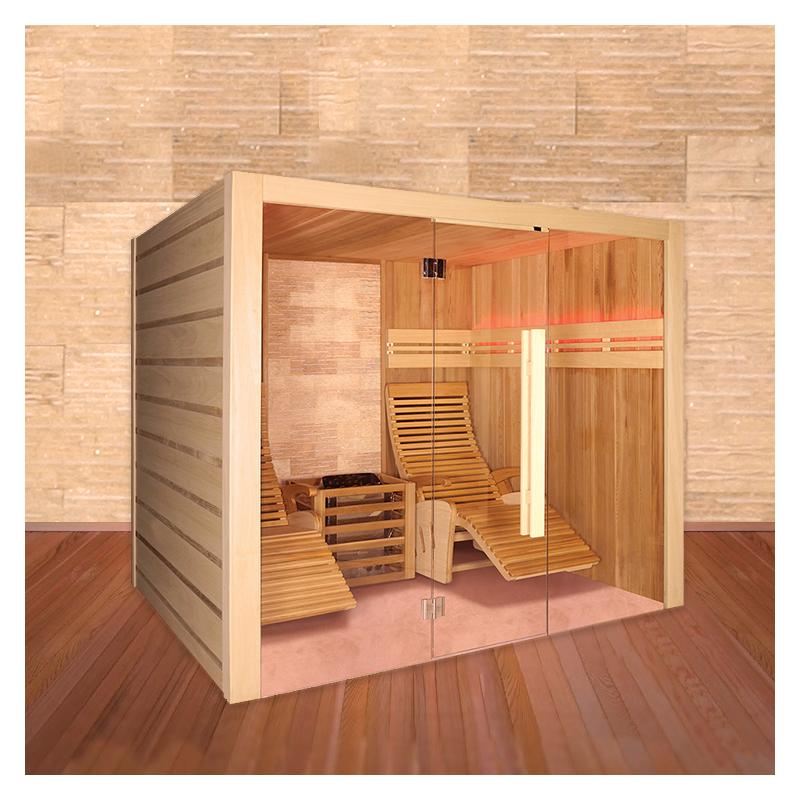 Sauna holl 39 s finlandese tradizionale sasuke 2 posti con parete al sale - Bagno finlandese ...