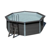 Piscina in legno composito WPC WOOD Ø 4,10 x h 1,24 m