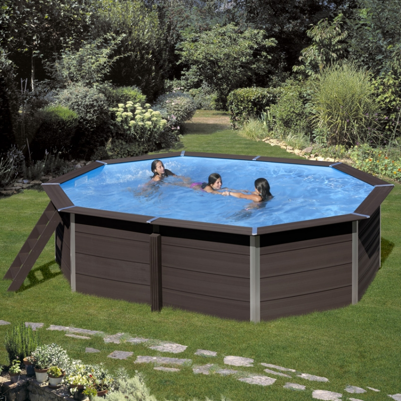 Piscina in legno composito WPC WOOD 5,24 X 3,86 h.1,24 m