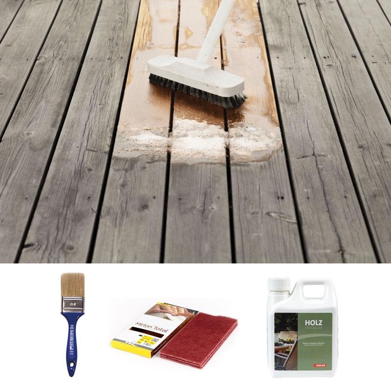 Kit pulizia per arredi da giardino e casette in legno for Arredi da giardino in legno