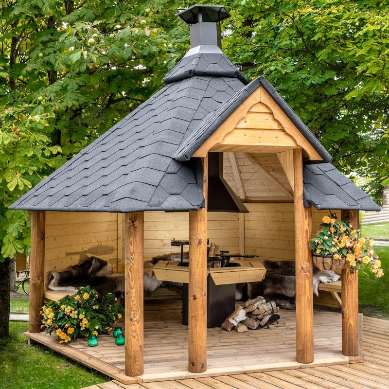 Casetta da giardino aperta in legno meti 3 86 x 3 40 x h 3 for Costo per costruire una casa piscina con bagno