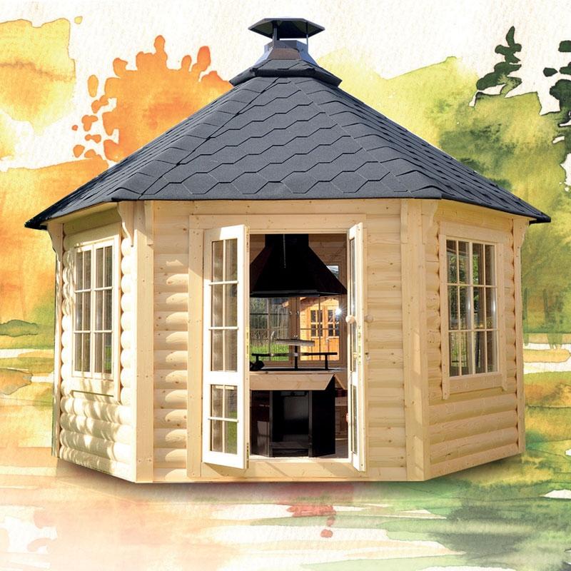 Casetta da giardino in legno minerva 4 5 x h 3 4 m con for Tinozze da giardino