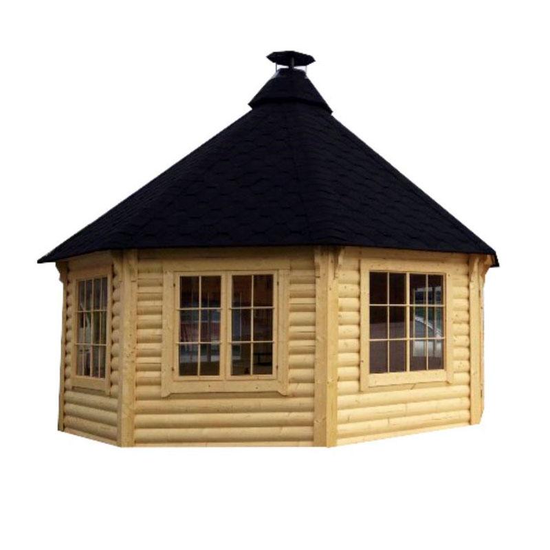 Casetta da giardino in legno nefele 5 09 x h 3 8 m con for Tinozze da giardino