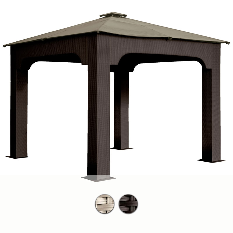 Gazebo da giardino in wicker 3x4 mt con telo impermeabile