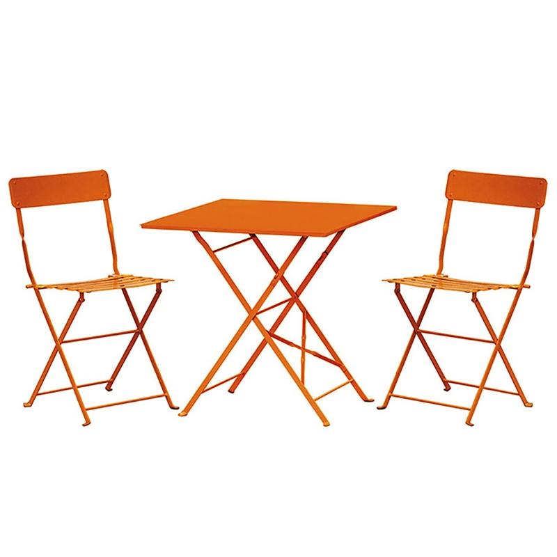Set bistrot in acciaio orange pieghevole for Tavoli e sedie da terrazzo