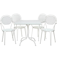Set bistrot in acciaio LULU, colore bianco