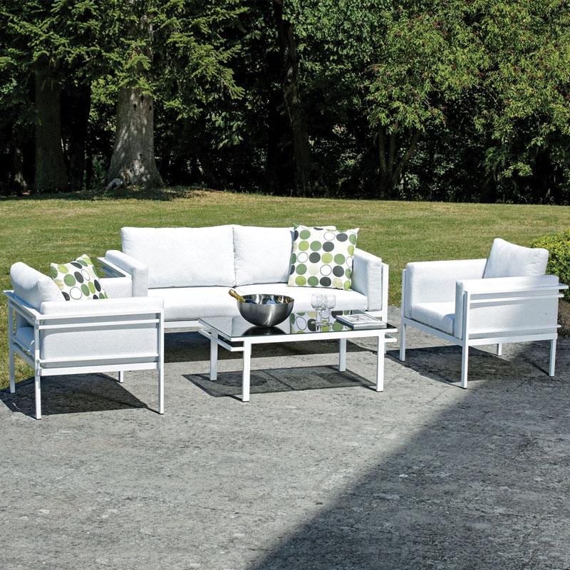 Salotto da giardino rock in bh tex ed alluminio 5 posti for Arredo giardino vendita on line