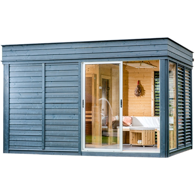 Sauna finlandese tradizionale da esterno ares 5 6 posti con spogliatoio - Sauna da esterno ...