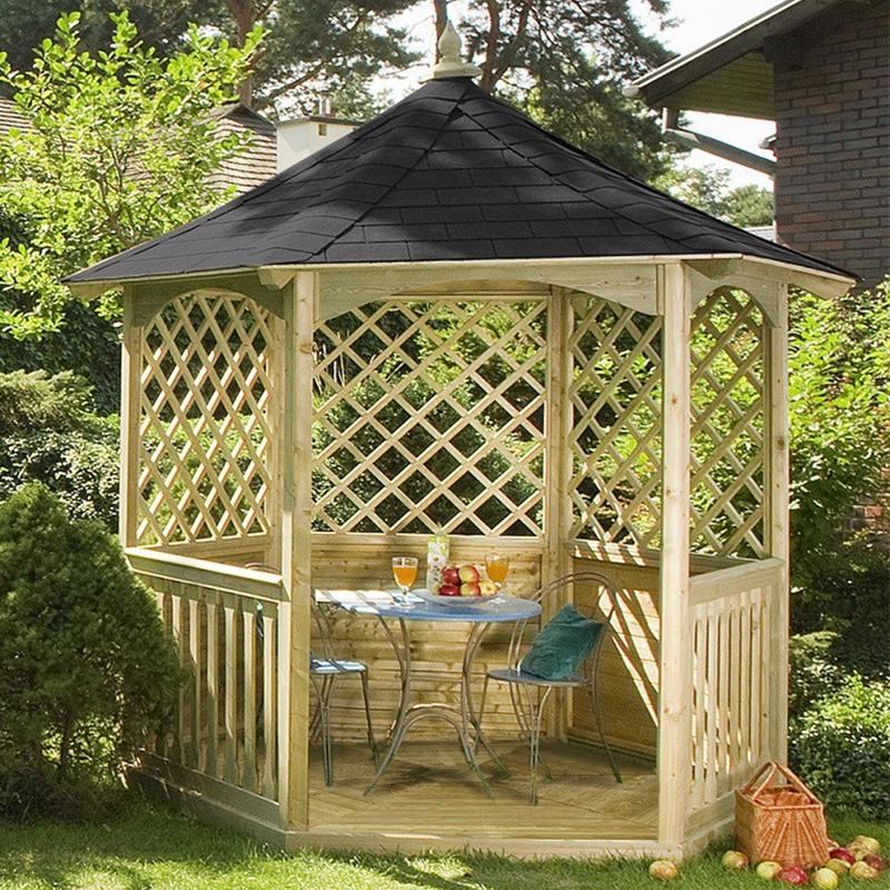 Gazebo da giardino in legno winchester for Arredamento in legno