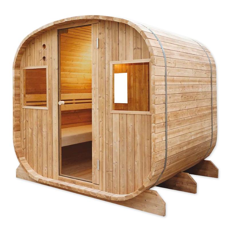 Sauna finlandese da esterno holl 39 s barrel da 6 posti - Sauna da esterno ...