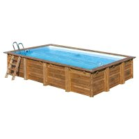 Piscina in legno poolwood 8 00 x 4 00 x h 1 46 m for Leroy merlin scalette