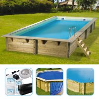 Piscina in legno NorthWood 505, kit con liner beige e optional inclusi - 5,05 x 3,50 h.1,26 m
