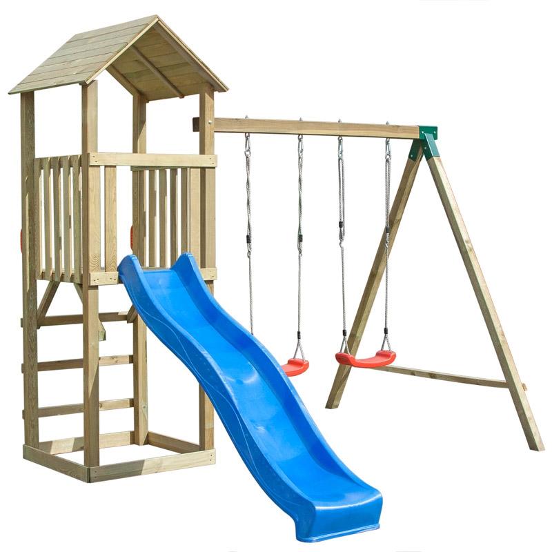Area gioco in legno LOTO con torre, altalena e scivolo |