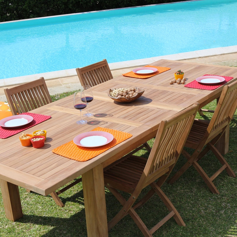 Set pranzo da giardino in legno di teak GIORGIANAOMI da 4 posti |