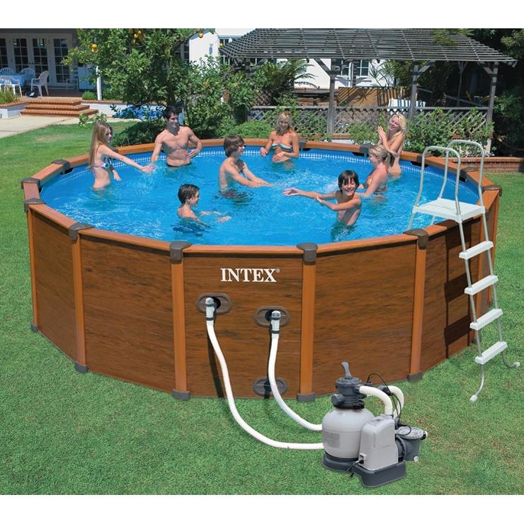 piscina fuori terra intex sequoia effetto legno 5 69 m x 1 35h pompa filtro sabbia. Black Bedroom Furniture Sets. Home Design Ideas