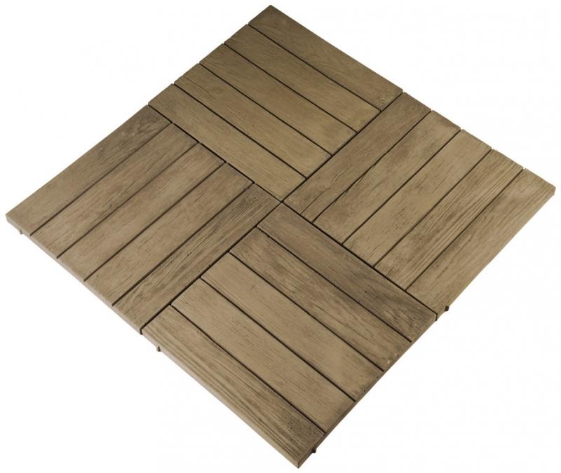 Lastra di pavimentazione effetto legno da esterno in pietra ricostruita 50 x 50 x 3 50 cm - Pavimentazione giardino in legno ...