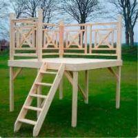 Solarium terrazzo in legno per piscine fuori terra 2x2 m | BSVillage.com