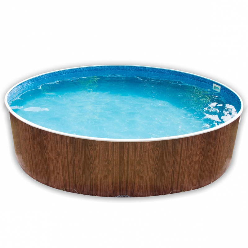 Piscina fuori terra rotonda azuro 401dl legno for Piscina a terra