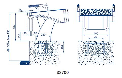 Blocco di partenza BCN03 per piscina Fisso con maniglie laterali