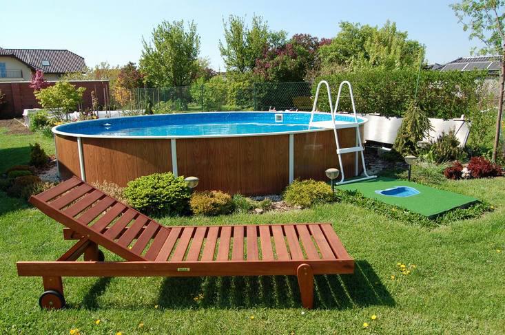 Piscina fuori terra rotonda azuro 403dl legno for Kit piscina fuori terra