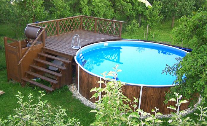 Piscina fuori terra rotonda azuro 403dl legno - Rivestire piscina fuori terra fai da te ...