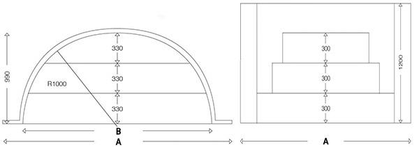 Dimensioni Scala Romana per piscina, h 1,20 m con 3 scalini per posa sotto liner