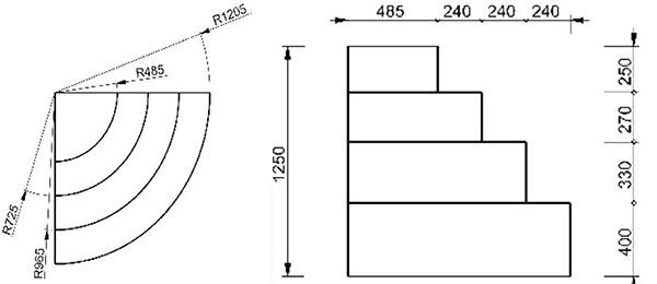 Dimensioni Scala interna ad angolo curvo per piscina con 4 scalini per posa sotto liner