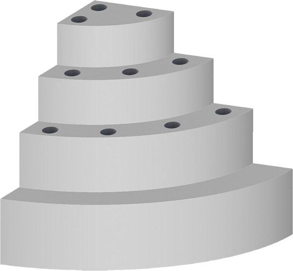 Scala interna ad angolo curvo per piscina con 4 scalini per posa sotto liner