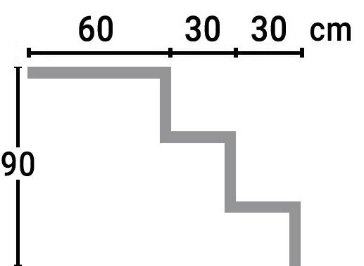 Dimensioni Scala interna rettangolare RELAX per piscina, h 0,90 m con 3 scalini per posa sotto liner