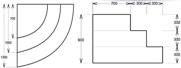 Dimensioni Scala interna ad angolo curvo per piscina. h 0,90 m con 3 scalini per posa sotto liner
