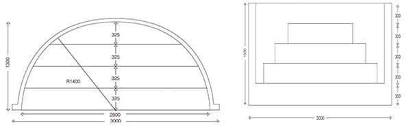 Dimensioni Scala Romana per piscina, h 1,50 m con 4 scalini per posa sotto liner