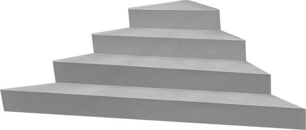 Scala interna ad angolo per piscina, h 1,20 m con 4 scalini per posa sotto liner