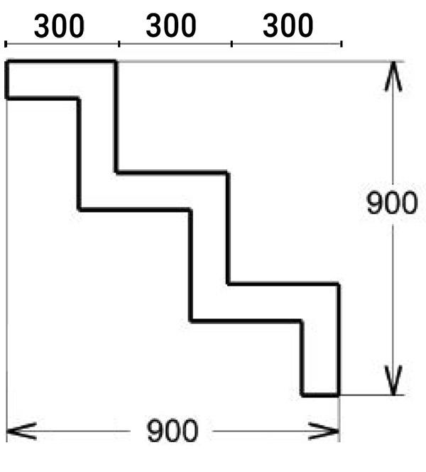 Dimensioni Scala interna rettangolare per piscina h 0,90 m, 3 scalini - posa sotto liner