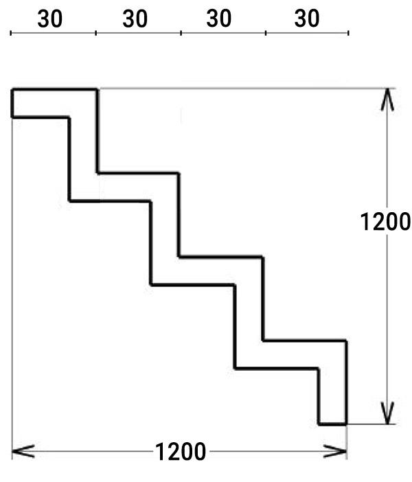 Dimensioni Scala interna rettangolare per piscina, h 1,20 m con 4 scalini per posa sotto liner