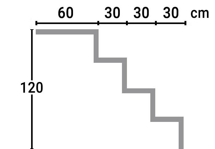 Dimensioni Scala interna rettangolare RELAX per piscina, h 1,20 m con 4 scalini per posa sotto liner