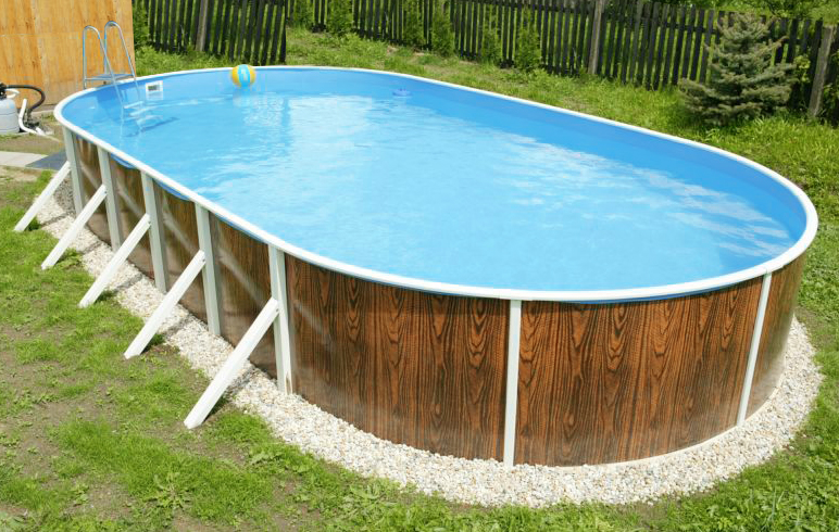 Piscina fuori terra ovale azuro 407dl legno - Piscine in acciaio fuori terra ...