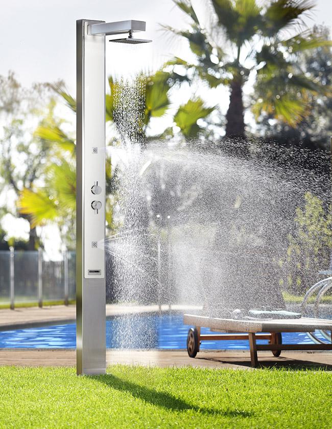 Doccia da giardino IGUAZU in acciaio 316, con nebulizzatore
